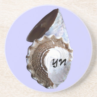 Shells monogram sandstone coaster