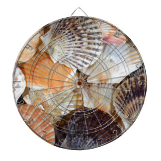 Shells of the Scallop  species  Zyclochlamys patag Dartboard With Darts