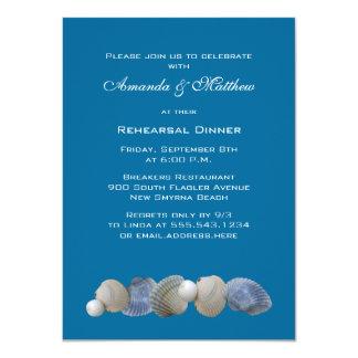 Shells on Blue Rehearsal Dinner Invitations