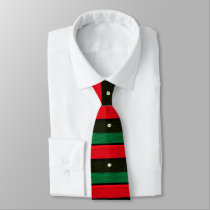 Shells on Red Black Green Crochet All Over Printed Neck Tie
