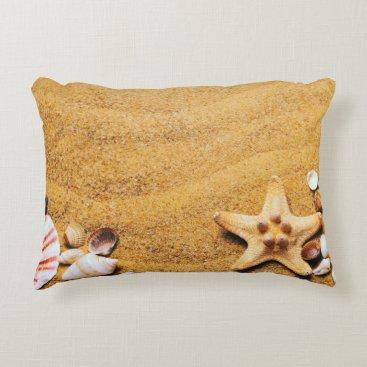 Beach Themed Shells on the beach accent pillow