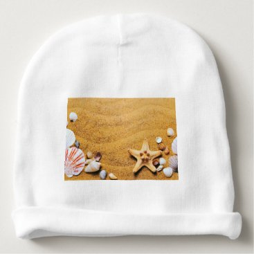 Beach Themed Shells on the beach baby beanie