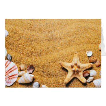 Beach Themed Shells on the beach card