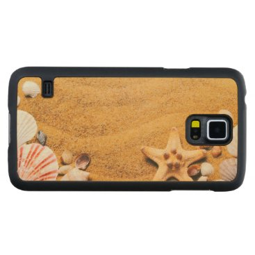 Beach Themed Shells on the beach carved maple galaxy s5 slim case