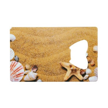 Beach Themed Shells on the beach credit card bottle opener