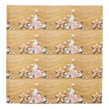 Shells on the beach duvet cover