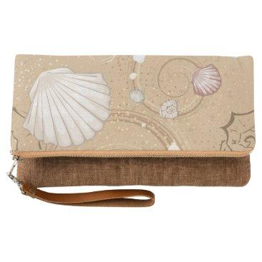 """Beach Themed """"Shells on the Beach"""" Fold Over Clutch"""