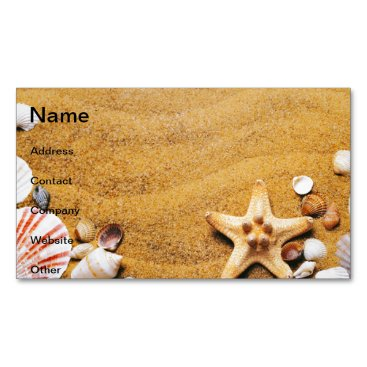 Beach Themed Shells on the beach magnetic business card