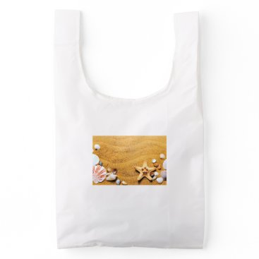 Beach Themed Shells on the beach reusable bag