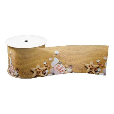 Shells on the beach satin ribbon