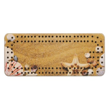 Shells on the beach wood cribbage board