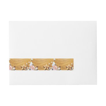 Beach Themed Shells on the beach wrap around address label