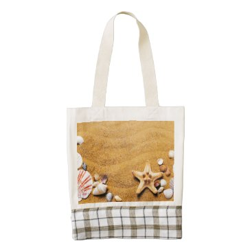 Beach Themed Shells on the beach zazzle HEART tote bag