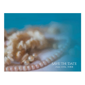 Shells & Pearls Elegant Painted Save the Date Postcard
