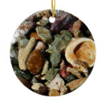 Shells, Rocks and Coral Beach Nature Theme Double-Sided Ceramic Round Christmas Ornament