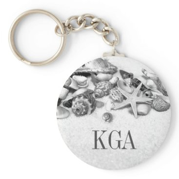 Beach Themed Shells & Starfish Monogrammed Keychain