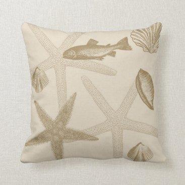 Beach Themed Shells Throw Pillow