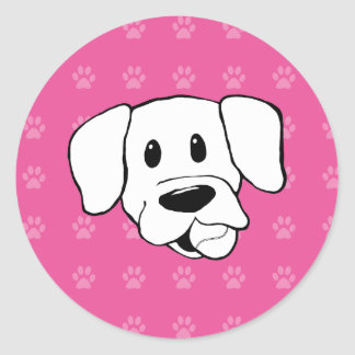 Shelter Dog cartoon labrador hot pink pawprints Classic Round Sticker