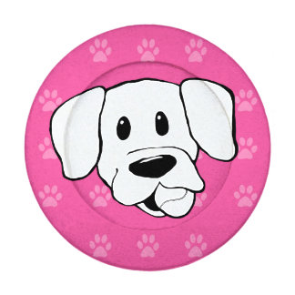 Shelter Dog cartoon labrador hot pink pawprints Pack Of Small Button Covers