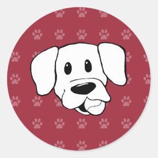 Shelter Dog cartoon labrador red pawprints sticker