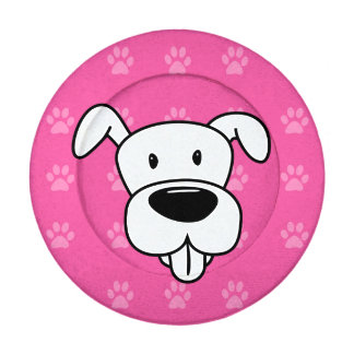 Shelter Dog cartoon pit bull hot pink pawprints Pack Of Small Button Covers