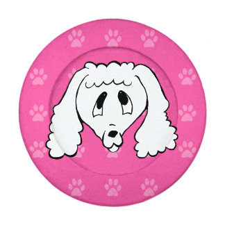 Shelter Dog cartoon poodle hot pink pawprints Pack Of Small Button Covers