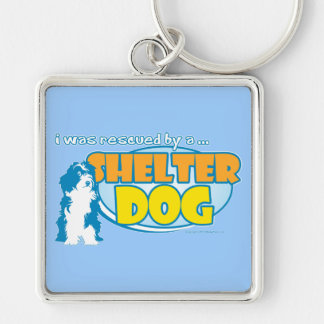 Shelter Dog Silver-Colored Square Keychain