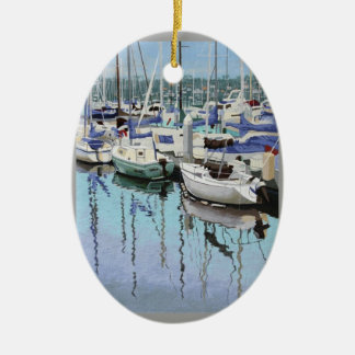 Shelter Island Double-Sided Oval Ceramic Christmas Ornament