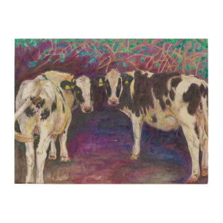 Sheltering cows 2011 wood print