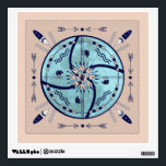 """Sheltering Moon Mandala Native Symbols Decal<br><div class=""""desc"""">An abstract, 4-sided mandala design in navy blue on pale terracotta. This design is composed of symbols inspired by Native American glyphs and sand paintings. All the items have symbolic meanings related to healing, long life, protection, strength, time and constancy, earth, and sun. All set over a blue full moon....</div>"""
