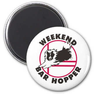 Sheltie Agility Weekend Bar Hopper 2 Inch Round Magnet