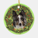 Sheltie Art Double-Sided Ceramic Round Christmas Ornament
