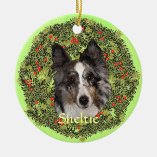 Sheltie Art Double-Sided Ceramic Round Christmas Ornament