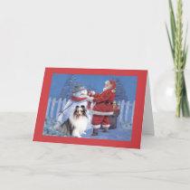 Sheltie Christmas Card Santa and Snowman