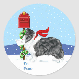 Sheltie Christmas Mail Bi Black Gift Tags Classic Round Sticker