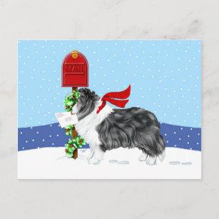 """LARGE 3/"""" SHELTIE DOG CHRISTMAS ORNAMENT HOLIDAY Figurine Scarf Shetland Sheepdog"""