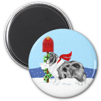 Sheltie Christmas Mail Bi Blue 2 Inch Round Magnet