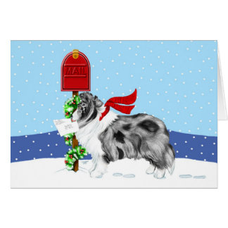 Sheltie Christmas Mail Bi Blue Cards
