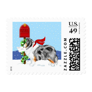 Sheltie Christmas Mail Blue Merle Postage Stamp