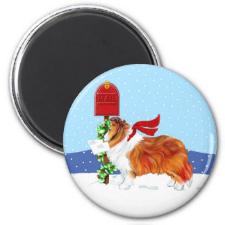 Sheltie Christmas Mail Sable 2 Inch Round Magnet