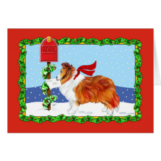 Sheltie Christmas Mail Sable Card