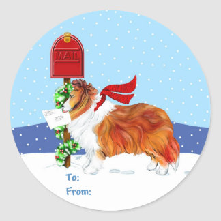 Sheltie Christmas Mail Sable Gift Tags Classic Round Sticker