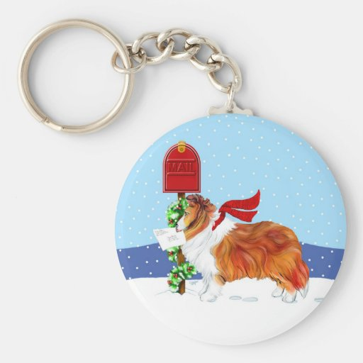 Sheltie Christmas Mail Sable Keychains