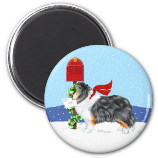 Sheltie Christmas Mail Tri Color 2 Inch Round Magnet