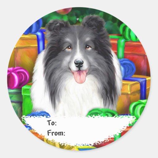 Sheltie Christmas Open Gifts Bi Black Gift Tags Sticker