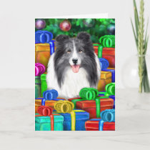 Sheltie Christmas Open Gifts Bi Blue Holiday Card