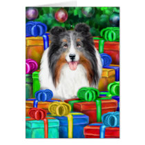 Sheltie Christmas Open Gifts Blue Merle Card