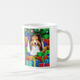 Sheltie Christmas Open Gifts Sable Coffee Mug