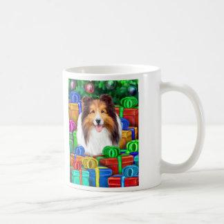 Sheltie Christmas Open Gifts Sable Coffee Mugs