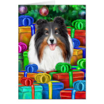 Sheltie Christmas Open Gifts Tri Color Card